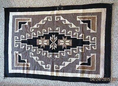 "VINTAGE -  Early 1940s Navajo Handwoven 45"" x 30"" Two Grey Hills Wool Rug"