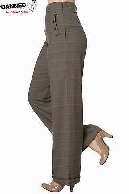 Banned Apparel - Female Style Crush Trouser Vintage 1940s Swing Pants High Waist