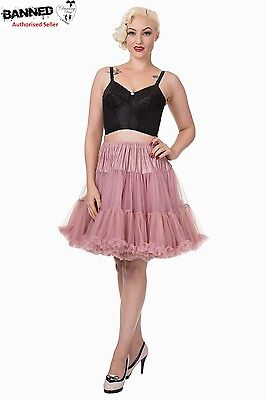 """Banned Apparel - WALKABOUT 20"""" PETTICOAT Under Skirt for extra volume Dusty Pink"""