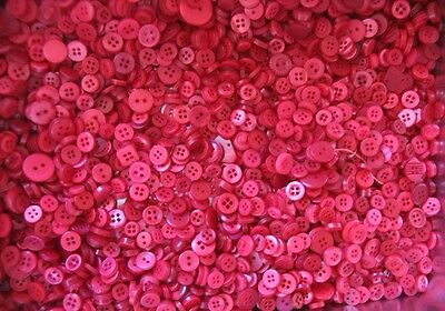 BULK LOT OF 100 RED   new small BUTTONS  average 10 mm to 15 mm craft sewing