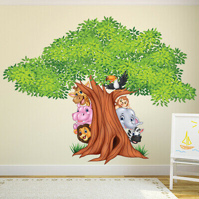 Jungle Arbre Sticker Muraux Animal Lion Autocollant Mural Garderie