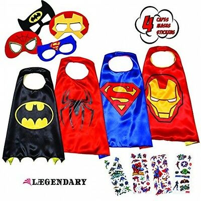 LAEGENDARY Superhero Costumes For Kids - 4 Capes And Masks - Birthday Kids Gift