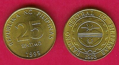Philippines 25 Sentimos 1995 Unc Central Bank Seal With