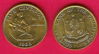 Philippines 5 Centavos 1958 Au Male Seated Beside Hamme