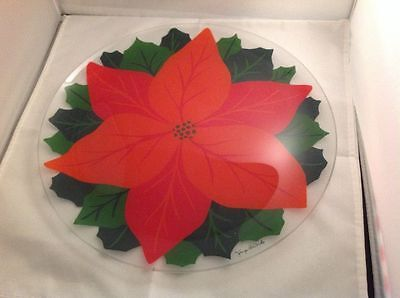 """Signed Georges Briard Holiday Poinsettia 13 1/2"""" Serving Platter"""