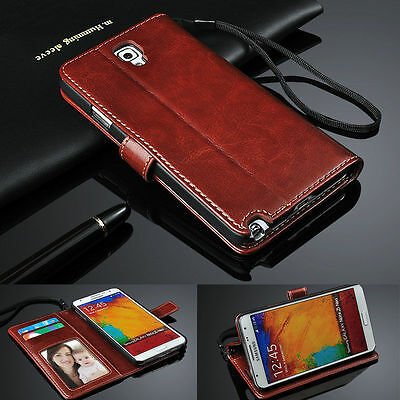 Genuine Real Leather Flip Wallet Case Cover for Samsung Galaxy Models
