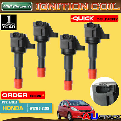 4Pcs for Honda Jazz II GD L15A 4Cyl 1.5L 2002-2008 Ignition Coils CM11-110