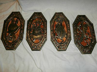 Set of 4 Vintage Spanish Conquistador Military Soldier HOMCO Wall Hanging Plaque