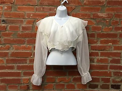 Vintage 90s Ruffle Crop Top Shirt Blouse Womens Off White LS (992)