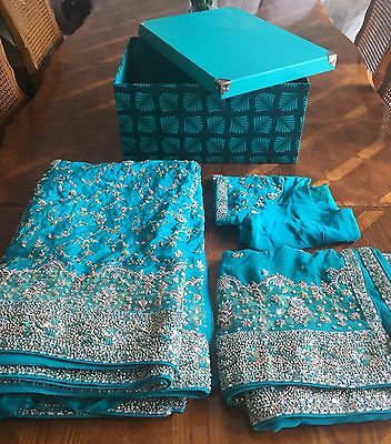 Indian Bridal Engagement Wedding Sari Blue Green Turquoise 3 Piece Dupatta Heavy