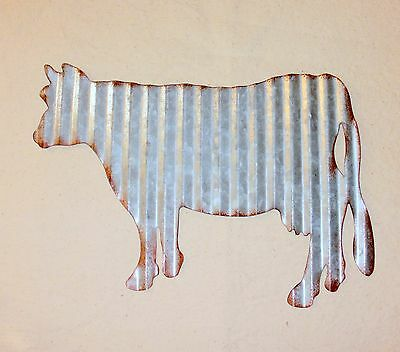 NEW~Rusty Corrugated Tin Cow Wall Hanging Farmhouse Decor