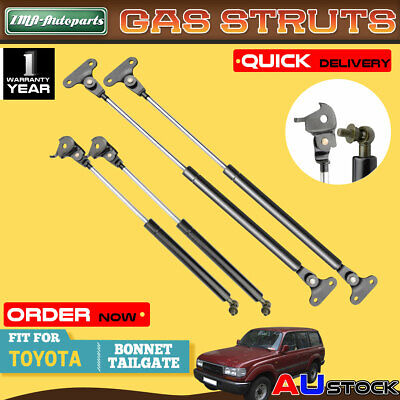 Two Pairs Bonnet+Tailgate Gas Struts for Toyota Land Cruiser 80 Series 1990-1997