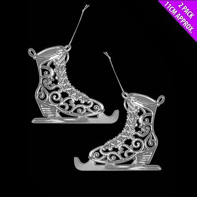Pack of 2 - 12cm Silver Ice Skates Hanging Christmas Tree Decorations - (DP96)