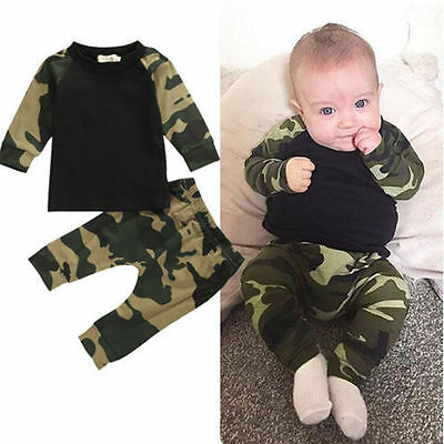 2PCS Newborn Kids Baby Boy T-shirt Tops+Long Pants Outfits Set Tracksuit Clothes