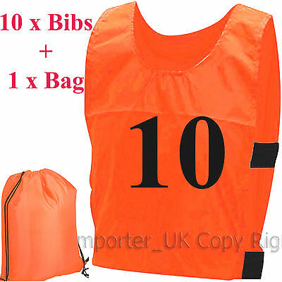 10 Sports BIBs TRAINING Adults kids QUALITY FOOTBALL HOCKEY CRICKET Numbers 1-10