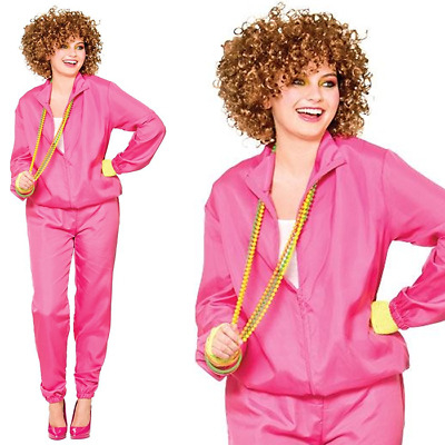 Adult Ladies Womens 80s Shell Suit Scouser Tracksuit Fancy Dress Costume Outfit