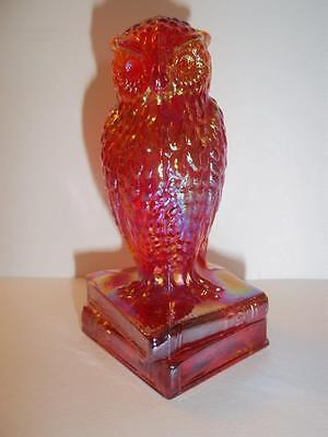 Ruby Red Carnival Glass Wise Old Owl On Books Figurine by Degenhart
