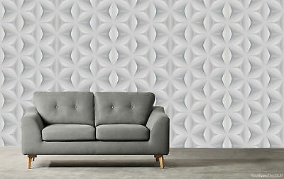 Retro Wallpaper Vintage Star Leaf 3D Abstract Geometric Funky Grey White