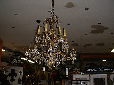 16 Arm Candelabra, Top 6 arms wired only, Heavy Original Chain w/candle cups