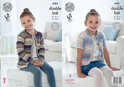 a3148dcac King Cole 4781 Knitting Pattern Girls Easy Knit Cardigans in King Cole  Splash DK