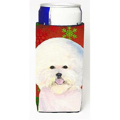 Bichon Frise Red And Green Snowflakes Holiday Christmas Michelob Ultra bottle...