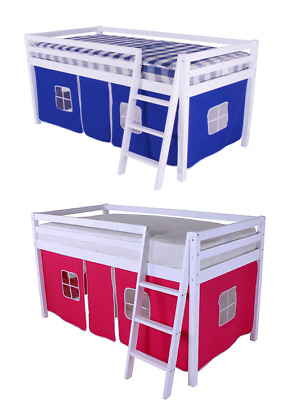 Cabin Bed Mid sleeper Loft Bunk Kids Childrens Bed Tents White Wooden Shorty