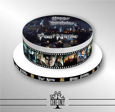 HARRY POTTER Personalised BIRTHDAY CAKE Printed Icing Sheets + Cake Board Ribbon