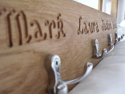 Wooden Personalised Coat Rack, Solid Oak, Handcrafted - 9 sizes, choice of hooks