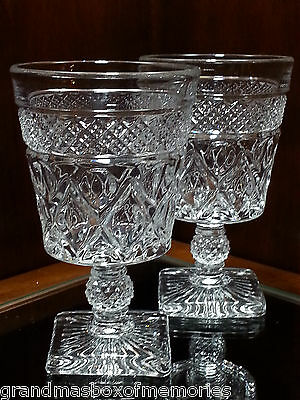 CAPE COD IMPERIAL GLASS Crystal Low Water Goblet Straight Bowl Ball Stem - PAIR!