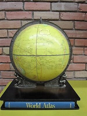 Vintage Crams Imperial World Globe Wood Base with Twin Atlas Figures and Atlas