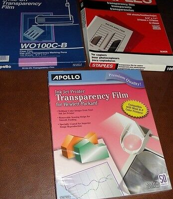 Transparency Film for Inkjet Devices, Clear, 50/Box for HP + 2 partial boxes