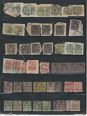 French Morocco: Small lot in fragments, pairs stamp of 4, singles, used. FM04
