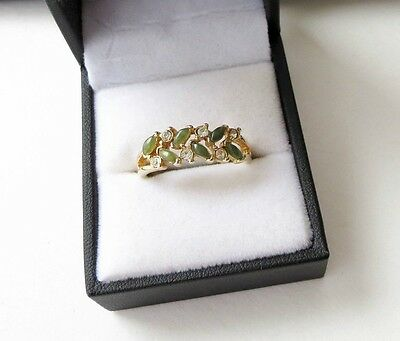 True Vintage Gold Plated Ring polished Olive Green & CZ stone cluster Size 10.25