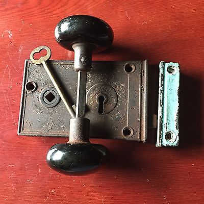 AUTHENTIC ANTIQUE Rim  LOCK Co.  & SKELETON KEY & Black Ceramic Doorknobs
