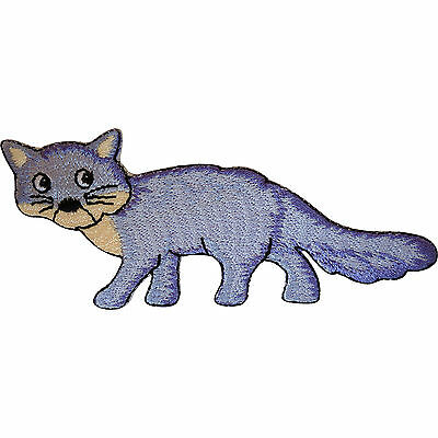 Embroidered Fox / Cat Iron On Badge Sew On Patch Clothes Bag Embroidery Applique