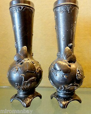Pair WMF Vases with Butterflies Glass Inserts 9""