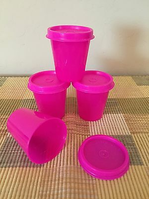 TUPPERWARE Tupper Minis Midgets Set Of 4 Pink With Pink Seals New Free Shipping