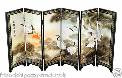 Chinese Lacquer Painting Beautiful Folding Screen Songhe pattern