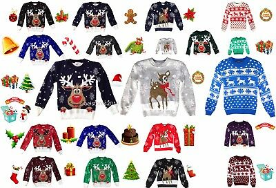 Christmas Jumper Rudolph Xmas Retro Winter Sweater Kids Childrens Girls Boys New
