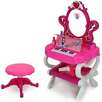 (DRPW-P) - DeAO Princess Style Dressing Table With Piano and Free Stool (Pink)