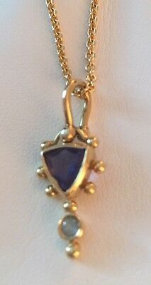Artisan Rona Fisher 14KT Gold Lolite and Blue Topaz Necklace and Earrings Set