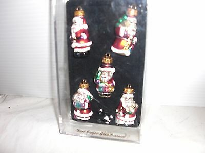 Santa Clause Mini Glass Ornaments Hand Crafted and Hand Painted