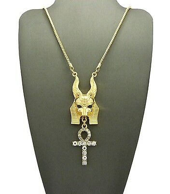 """Egyptian God Anubis & Pave Ankh Pendant 2mm 30"""" Box Chain Trendy Necklace RC2220"""
