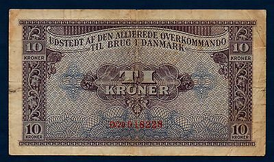 Denmark Allied Military Currency 10 Kroner 1945 F+