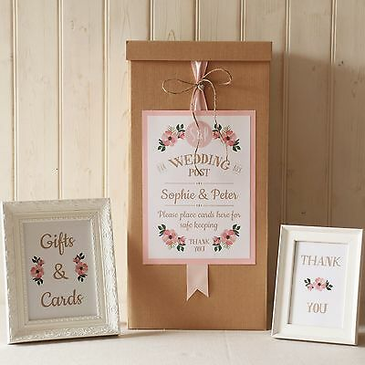 personalised WEDDING CARD POST BOX Kraft twine FLORAL Gifts and Cards SIGNS