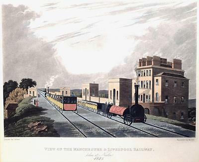 1825 Manchester To Liverpool Railway Engraving Earliest Steam Memorabilia