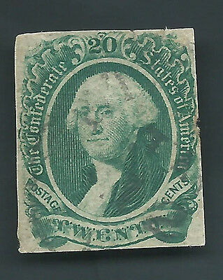 Confederate CSA Stamp Scott # 13 20c USED 4 Margins Sound CV CAT $400.00