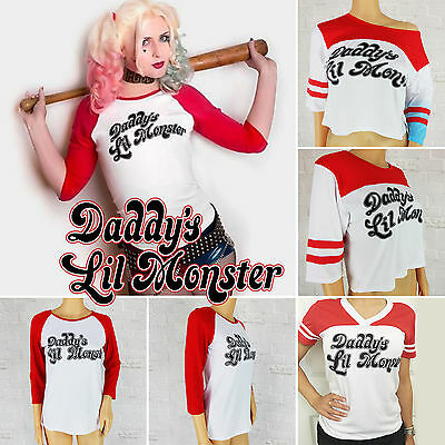 Harley Quinn Cosplay T-shirt Suicide Squad Daddy's Lil Monster Inspired Tops New
