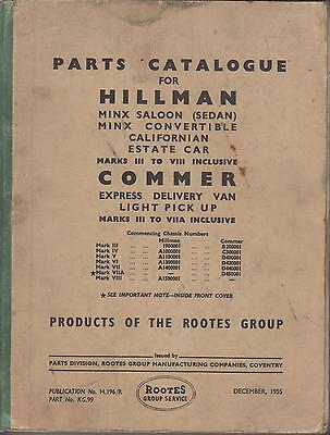Hillman Minx Mk 3 4 5 6 7 7A 8 Saloon Convertible '48-55 Factory Parts Catalogue