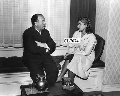 Alfred Hitchcock and Ingrid Bergman on the Movie Set of 'Spellbound' Photo